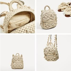 RARE!! Zara Macrame Crochet Mini Backpack